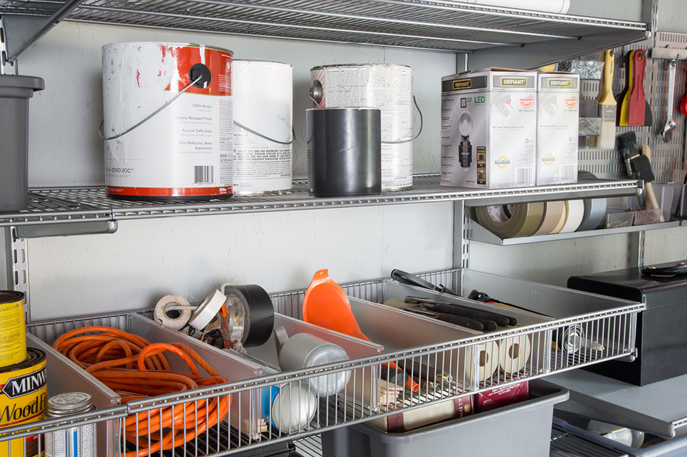 elfa ventilated shelves provide the minimalist open shelving that kevin needs for his tools paint lights and more our elfa ventilated shelf baskets with