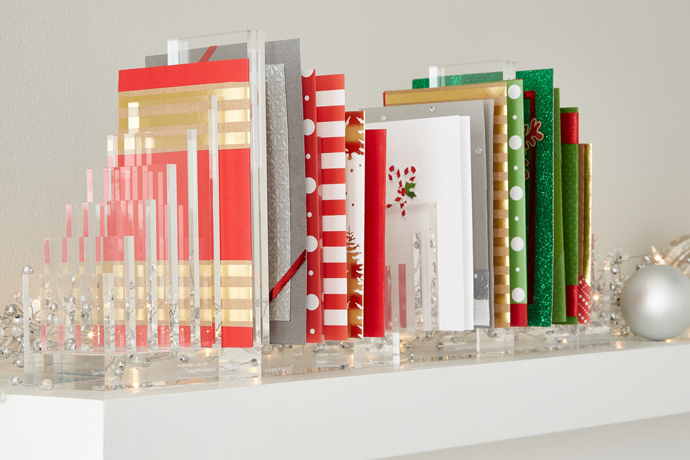 Fresh ideas for holiday card displays container stories on card sorting and display use our acrylic file sorter bookend to create a modern organizational system that still lets your holiday cards shine m4hsunfo