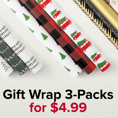 Gift Wrap 3-Packs for $4.99