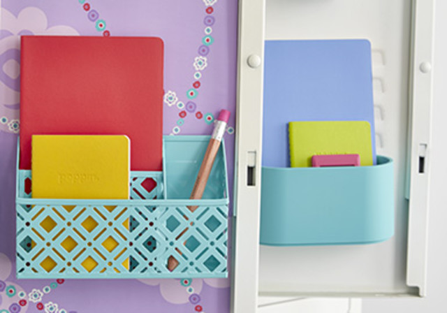 locker organization four different ways container stories rh containerstore com magnetic baskets for lockers