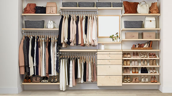 Organized office closet Walk In Closet Null Simply Organized The Container Store Storage Organization Custom Closets