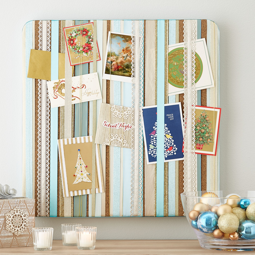 Fresh ideas for holiday card displays container stories create your very own cork board card display by fastening ribbons of your favorite color scheme and using them to display your favorite christmas cards m4hsunfo