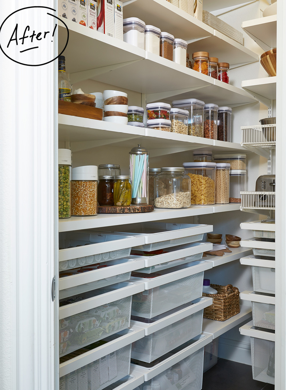 Design Elfa Pantry this pantry gets perfected with an elfa transformation container featured products white kitchen solution artisan glass canisters oak lids anchor hocking jars