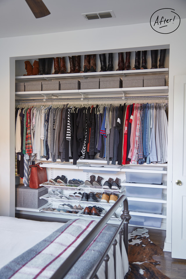 ... Small Bedroom Closets And Apartment Closet Organization. Marc And  Kristen Decided To Give Up Some Of The Depth Of The Closet To Make