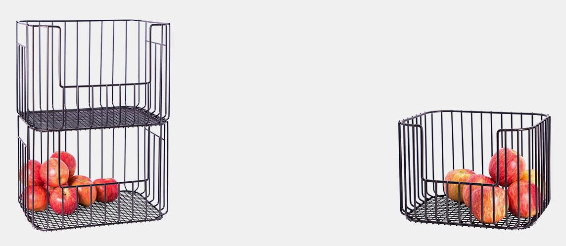 Black Vertica Wire Stacking Bins