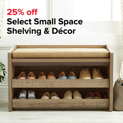 25% off Select Small Space Shelving & Décor