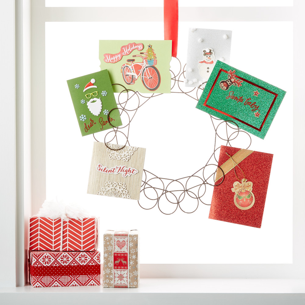 Fresh ideas for holiday card displays container stories hang our spiral wreath card holder on a hook anywhere in your home and it will beautifully display your holiday greeting cards and photos m4hsunfo