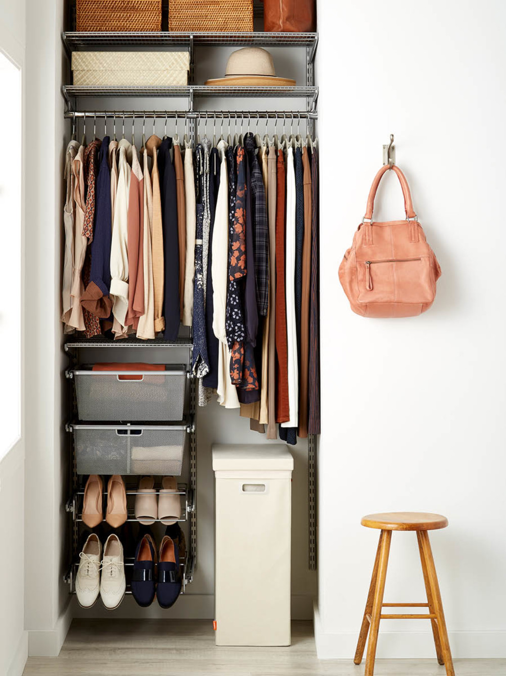 Featured Products: Platinum elfa Small Space Closet // Natural Pandan Shirt  Box // Copper Rattan Storage Bins with Handles // Linen Poppin Laundry  Hamper ...