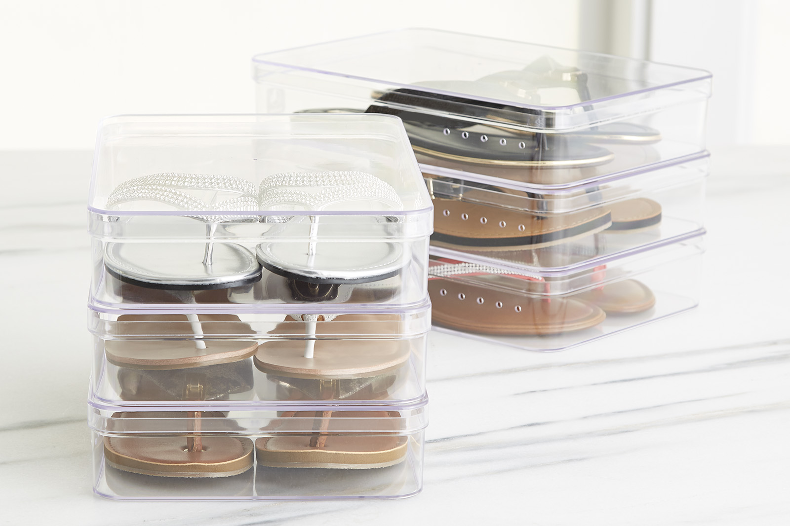 thinking outside of the box our low heeled shoe box 5 different ways container stories - Container Store Shoe Storage