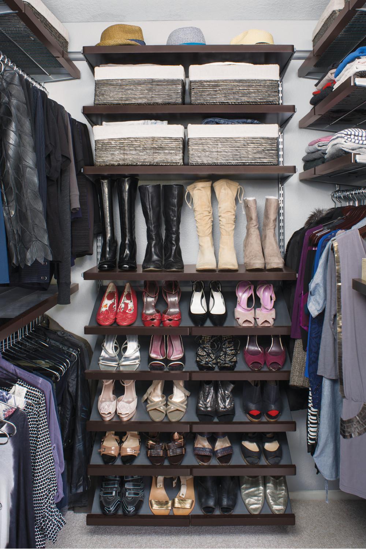featured products walnut elfa dcor walkin closet grey maize storage bins chrome metal hangers