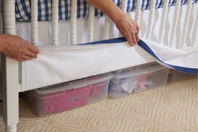 Exceptionnel We Love Bethu0027s Tip Of Using The Space Under The Crib For Storage. Here You  See Our Boot Boxes Labeled With Clothes To Be Used As The Baby Gets Older.
