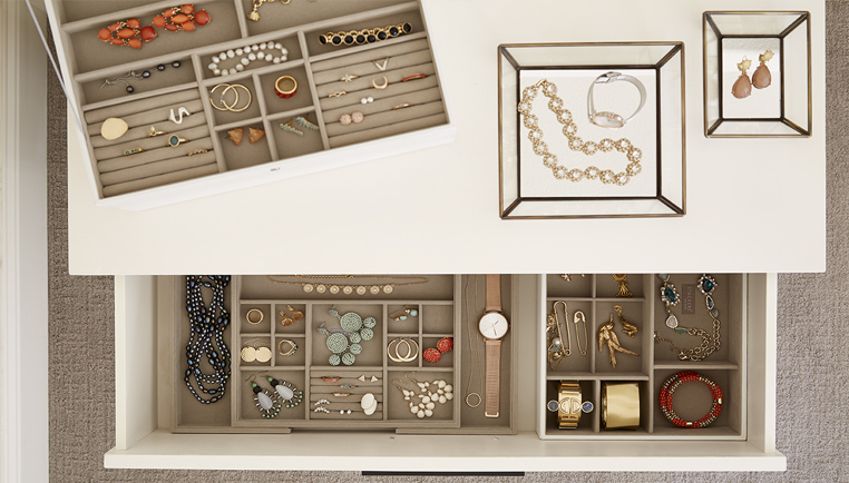 how to organize your jewelry jewelry organization ideas the container store. Black Bedroom Furniture Sets. Home Design Ideas